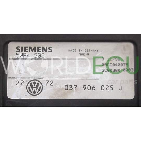 ECU ENGINE CONTROLLER VW VOLKSWAGEN GOLF 1.6 SIEMENS 5WP4206, 037 906 025 J, 037906025J