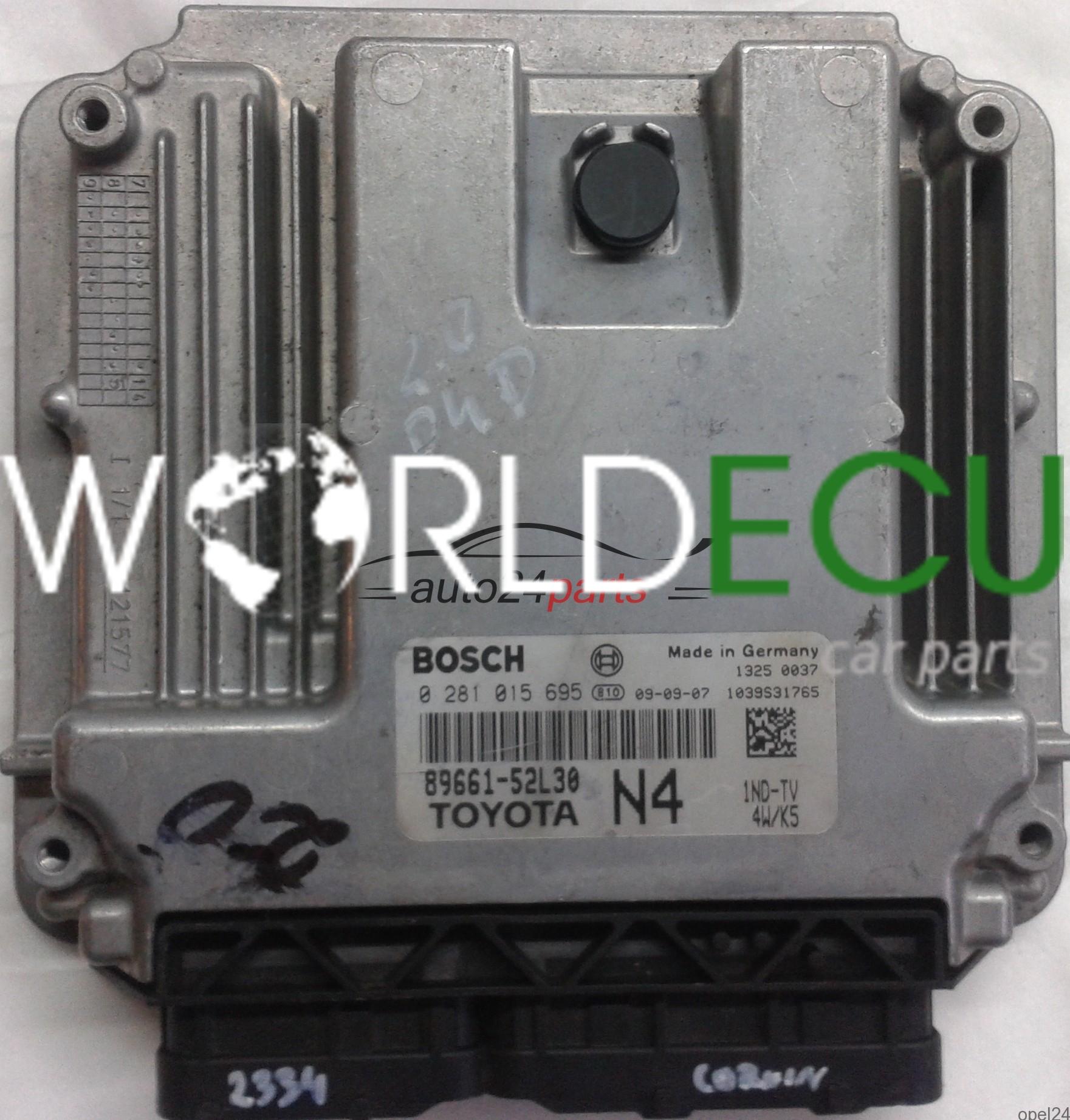 ECU ENGINE CONTROLLER TOYOTA YARIS 1 4 D4D 1ND-TV 89661-52L30 N4 8966152L30  BOSCH 0281015695, 0 281 015 695