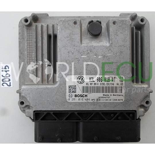 ECU Engine control unit VW VOLKSWAGEN GOLF JETTA 2 0 TDI BOSCH 0 281 016  404, 0281016404, 03L 906 018 AT, 03L906018 AT, 03L906018AT, EDC17C46