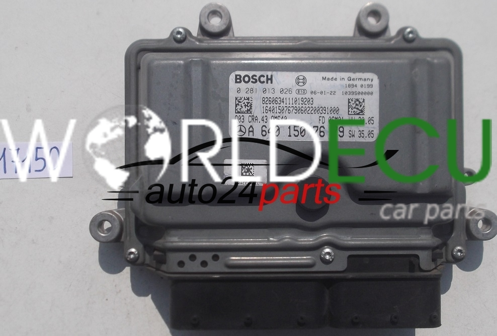 ECU ENGINE CONTROLLER MERCEDES A180 BOSCH 0 281 013 026, 0281013026, A 640  150 76 79, A6401507679, 6401507679